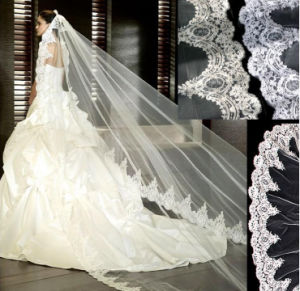 2017 Chapel Length Lace Pattern Edge Bridal Wedding Veil pictures & photos