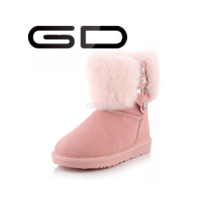 Italian Wrinkled Pink Leather Snow Boots pictures & photos