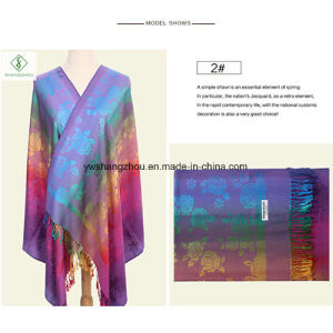 Hot Sale Fashion Lady Pashmina Jacquard Shawl with Rose Scarf pictures & photos