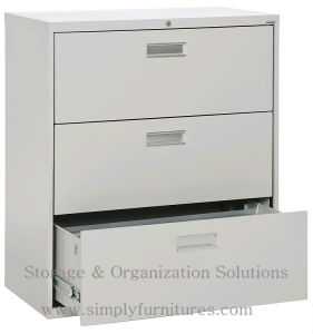 Black 3 Drawer Lateral File Cabinet for Office pictures & photos