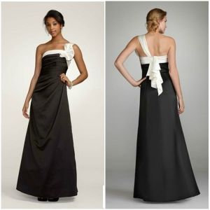 Gray and White Color Full Length Elegant Special Bridesmaid Dress