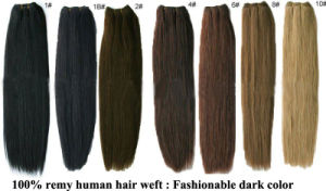 New Wholesale Dark Color Silky Straight Remy Hair Weft Extension pictures & photos