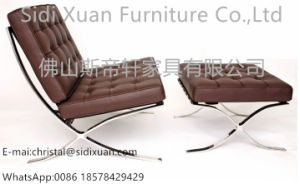 High Gloss Polished Stainless Steel Frame Leather Cushions Barcelona Footstool pictures & photos