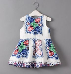 Fashion Girl Blude Flower Dress in Kids Clothes pictures & photos