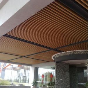 Aluminum Baffle Ceiling in Wood Finished