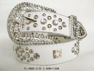 Classic White Belt with Studded and Rhinestone Fl-0080 pictures & photos