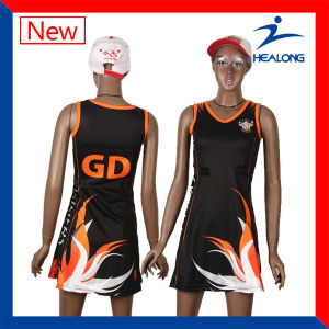 Healong Custom Sublimation Netball Dress Jersey with High Quality pictures & photos