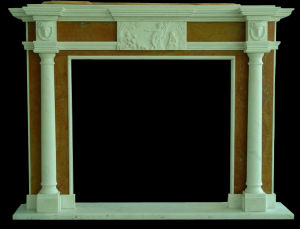 White and Yellow Marble Column Fireplace pictures & photos