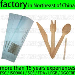 Customized Disposable Wood Cutlery Kit, Birch Knife Fork Spoon Napkin