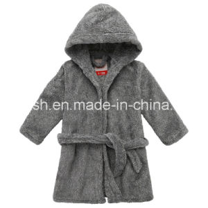Solid Super Soft Coral Fleece Hooded Robe Infant Pajamas pictures & photos