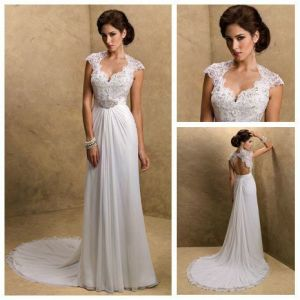 Cap Sleeves Lace Chiffon Bridal Wedding Dress Gowns W141029 pictures & photos