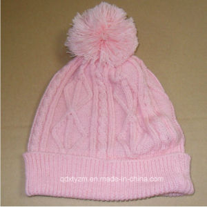 Beautiful Girs Pompom Cable Winter Beanie Cap and Hat/Pompom Cap