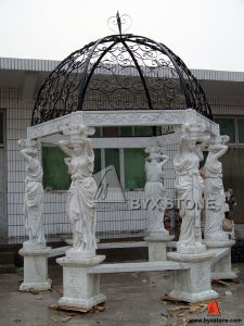 White Marble Gazebo with Cast Iron Roof for out Decoration pictures & photos
