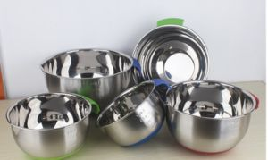 Stainless Steel Mixing Bowl Salad Bowl with Silica Bottom and Handle (JX-001) pictures & photos