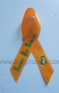 Custom Logo Public Campaign Events Red Silk Ribbon pictures & photos