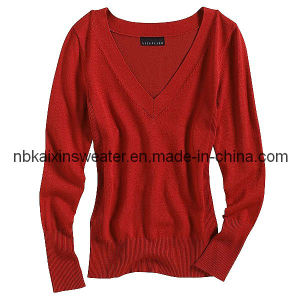 Women′s V-Neck Versatile Pullover Sweater (KX-W43)