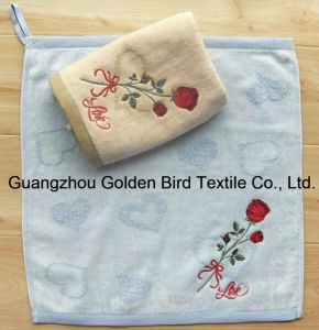 100% Cotton Solid Color Jacquard Velour Handkerchief with Rose Embroidery