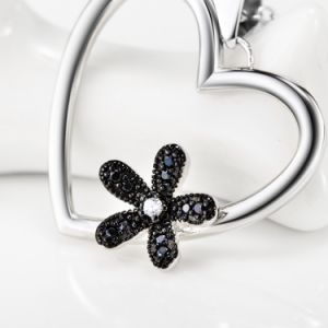 Latest 925 Sterling Silver Heart Necklace Jewelry Black CZ Crystal Flower Pendant Necklace for Women Fine Jewelry pictures & photos