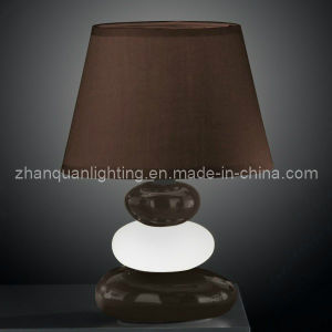 Brown Lamp Shade with Ceramic Body Table Lamp (T161)
