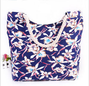 Printed Canvas Shoulder Bag Fashion Canvas Mummy Bag Cotton Rope Handbag Beach Bag pictures & photos