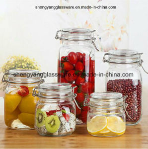 Hot Sell 4PC Set Household Glass Storage Jar/Glass Container/Glass Jar Kitchen Furnither pictures & photos