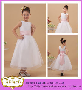 New Lovely A-Line Scoop Sleeveless Organza Flower Girl Net Dresses with Pink Sash Yj0124