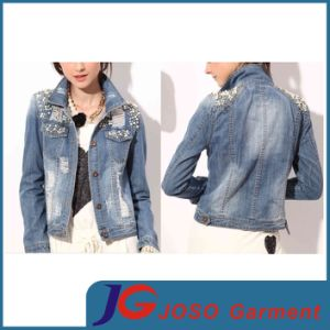 Women Clothing Denim Trucker Jacket with Beaded Shoulder (JC4074) pictures & photos