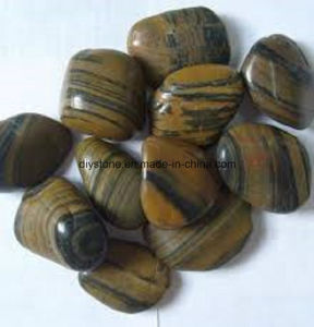 Polished Natural Stripe Pebble Stones for Decoration pictures & photos