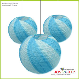 Blue Ribbed Round Paper Lantern pictures & photos