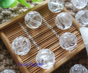 White Quartz Carved Beads