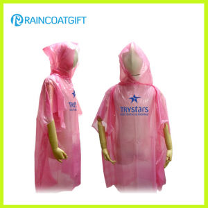 Disposable Pink PE Rain Poncho Rpe-002 pictures & photos
