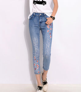 Summer Style Women Denim Jeans Flower Print Nine Skinny Jeans pictures & photos
