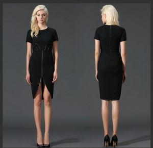 Shot Sleeve Black MIDI Women′s Dress (JP-2015D246) pictures & photos