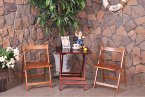 Outdoor Folded Table and Chair Wooden Garden Set (M-X1028) pictures & photos