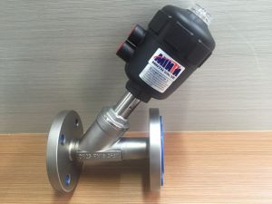 Pneumatic Cylinder Actuated Y-Type Control Valve Flow Direction Below Seat/Above Seat Normally Open/Close