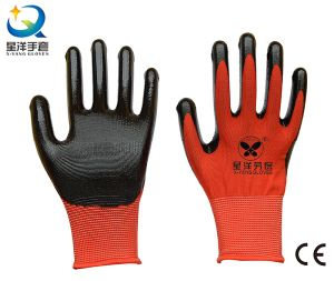 13G Nitrile Red Polyester Shell, Black Nitrile Coated, Work Gloves (N7003) pictures & photos