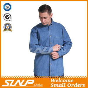 2016 New Style Fashion Denim Workwear Long Sleeve Shirt for Men
