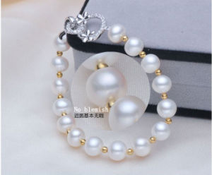 Freshwater Cultured Pearls with Round Beads Bracelet (E150027) pictures & photos