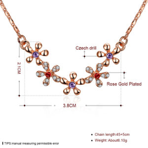 2017 New Design Five Flower Shape Crystal Pendant Necklace Baautiful Rose Gold Plated pictures & photos