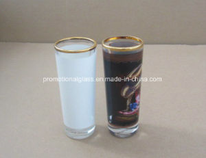 1.5oz Sublimation Shot Glass with White Panel, Gold Rim pictures & photos