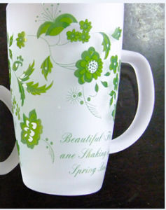 Frosted Flower Glass Mug Coffee Cup Cheap Glassware pictures & photos