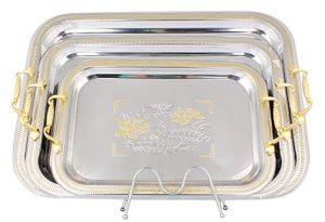 3PCS Stainless Steel Tray Set with PP Handle pictures & photos