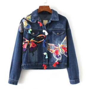 Long Sleeve Lapel Stereo Butterfly Embroidery Tassel Jacket Cowboy of Women