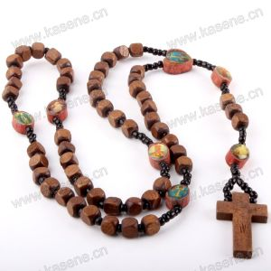 Jewelry, Wood Beads Rosary Cross Handmade Cord Necklace
