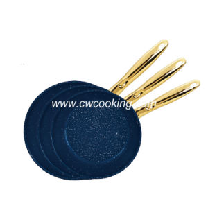 3PCS Stainless Steel Frypan Set with Gold Plated Handle pictures & photos