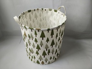 Canvas Round Laundry Hamper with PE Coating - Trees