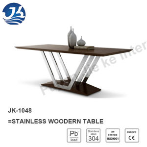 2016 Modern Stainless Wood Roman Dining Table (JK-1048)
