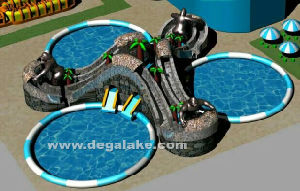 Inflatable Three Lane Chimpanzee Slide with Three Swimming Pool pictures & photos
