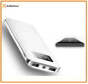 Two Output, LED Light, LCD Display Polymer Slim Power Bank 10000mAh