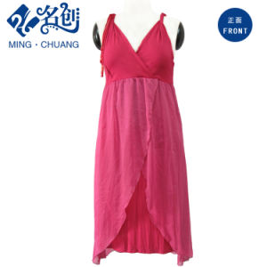 Peach V-Neck Low-Cut Sexy Young Ladies Evening Dress with Shoulder-Straps pictures & photos
